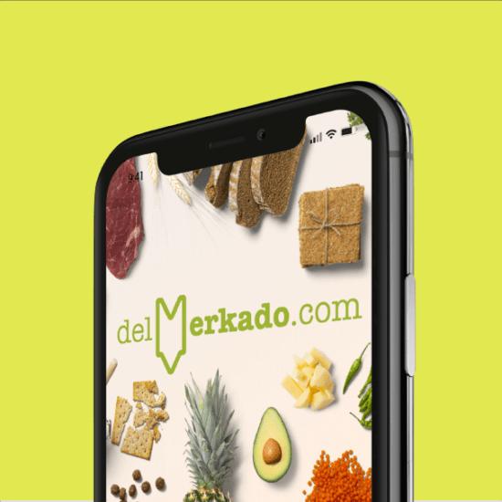 Logotipo para delmerkado.com, app para mercados de abastos